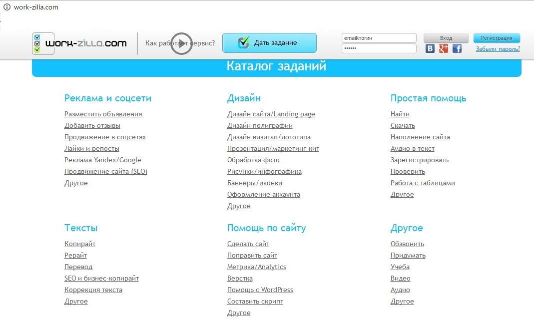Каталог завдань на work-zilla.ru