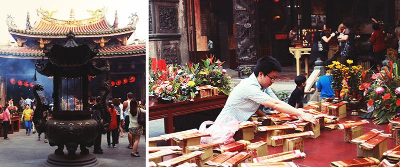 Типовий храм Тайваню та паперові гроші, які потім спалюють