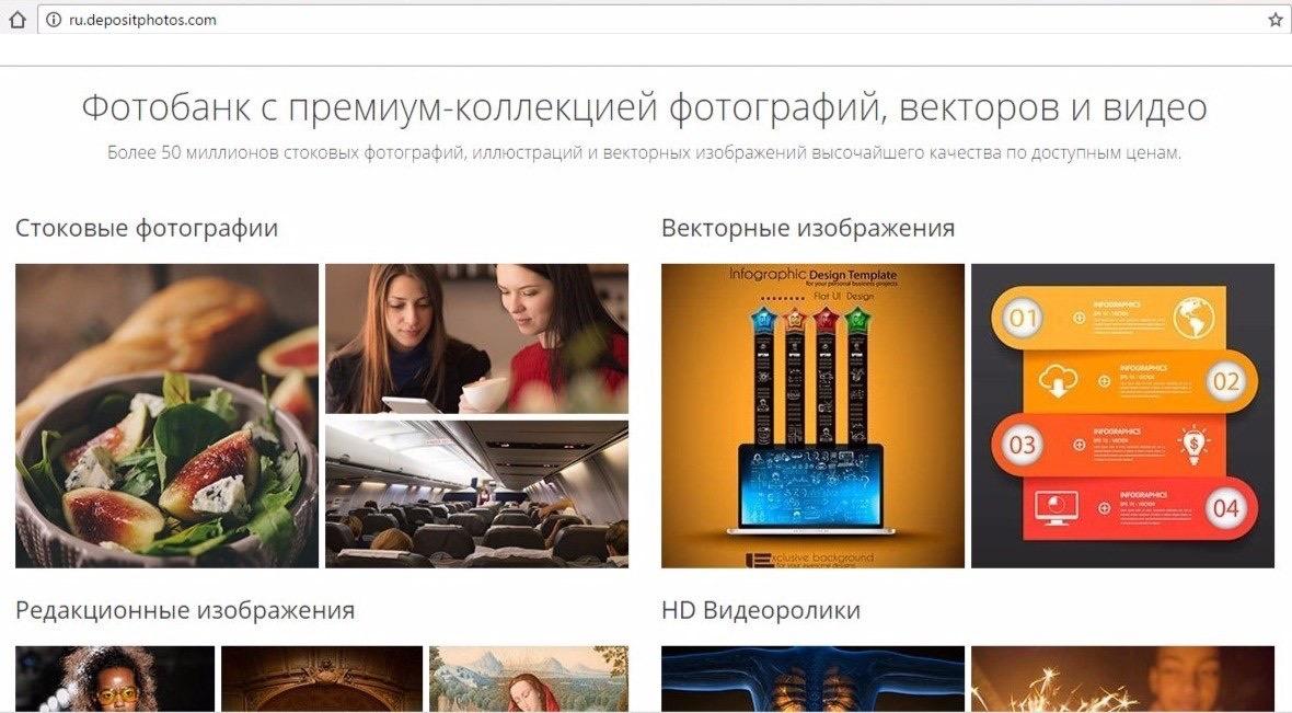 Розділи на фото-стоку depositphotos.com
